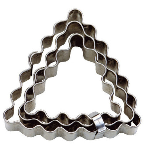 Mini Triangles Crinkled Set of 3 Cookie Cutters 3.5, 4 and 5.5cm-Cookie Cutter Shop Australia