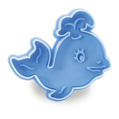 Whale Blue 5.5cm Plastic Ejector Cookie Cutter-Cookie Cutter Shop Australia