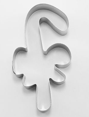 Candy Cane Cookie Cutter with Bow 11cm | Cookie Cutter Shop Australia