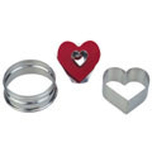 Heart with Heart in Middle Linzer Cookie Cutter with Ejector 5cm-Cookie Cutter Shop Australia