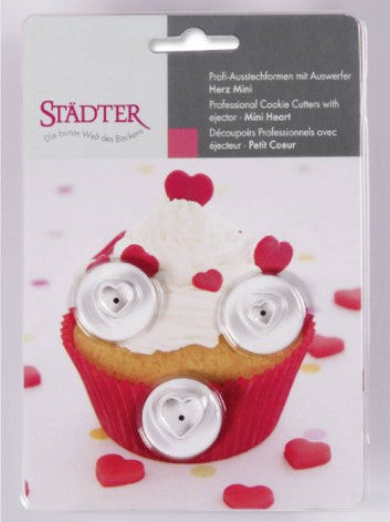 Heart Shaped Mini Fondant Plunger Cutters Set of 3 | Cookie Cutter Shop Australia