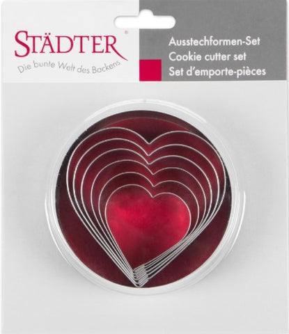 Heart Set of 6 Cookie Cutters 4.5 - 9cm