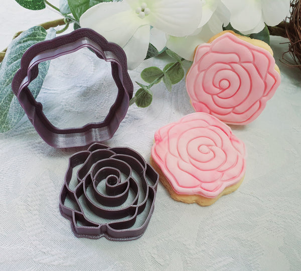 Rose Cookie Cutter with Embossed Stamp 6.5cm