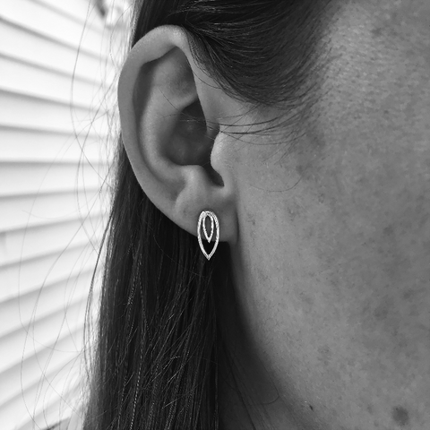 Concentric Leaf Stud Earrings