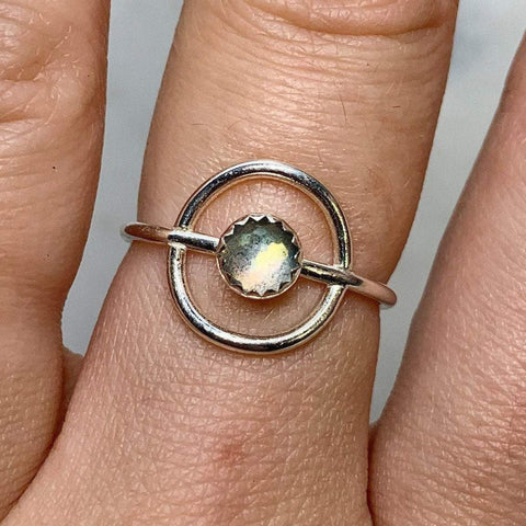 Halo Labradorite Ring