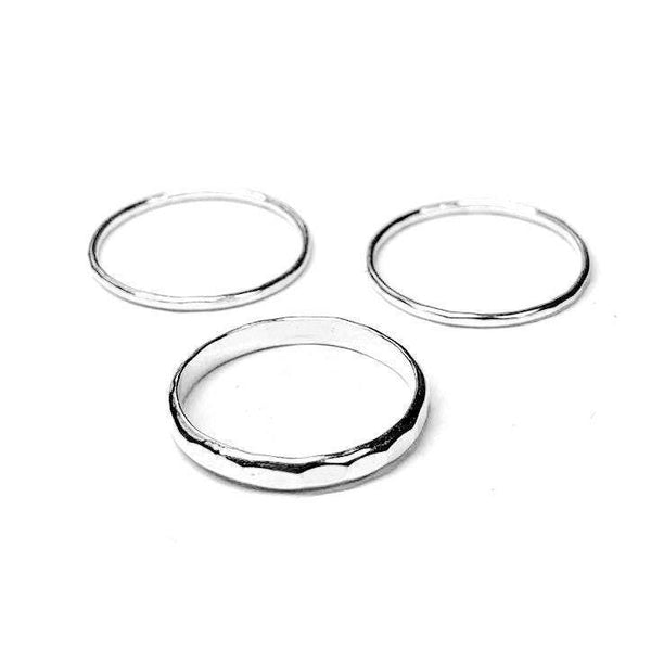Hammered Ring Set - Renegade Jewelry