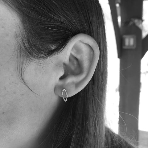 Hammered Single Leaf Stud Earrings
