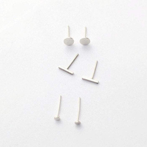 Tiny Dot Stud Earrings, Hammered Moon Stud Earrings, and Bar Studs Set of Three Pair - Renegade Jewelry
