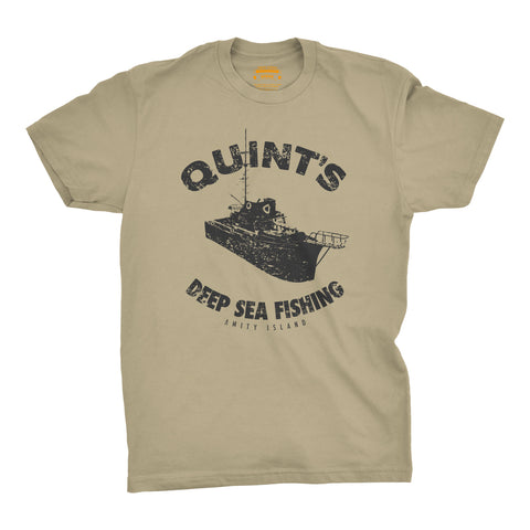 T-Shirt Quint's Deep Sea Fishing (Tan)Jaws (1975) - Uber Torso