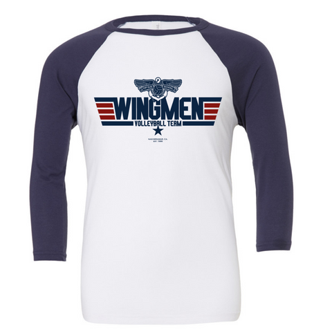 Top Gun Wingmen Volleyball Team 3/4 Sleeve Baseball Tee