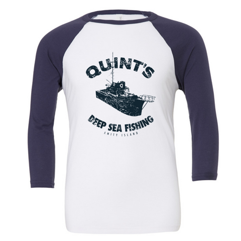 Quint's Deep Sea Fishing 3/4 Sleeve Baseball Tee