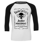 Frank Castle's Justice & Punishment 3/4 Sleeve Baseball Tee