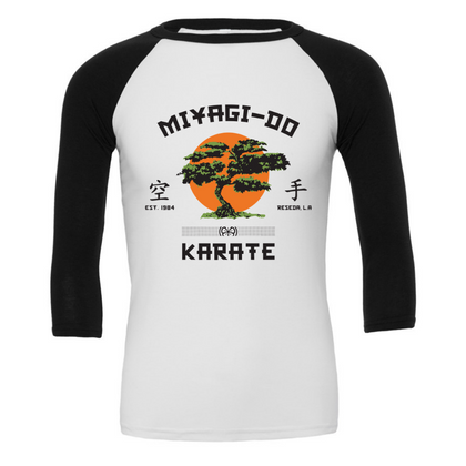 Long Sleeve T-Shirt Miyagi-Do Karate 3/4 Sleeve Baseball TeeKarate Kid (1984) - Uber Torso