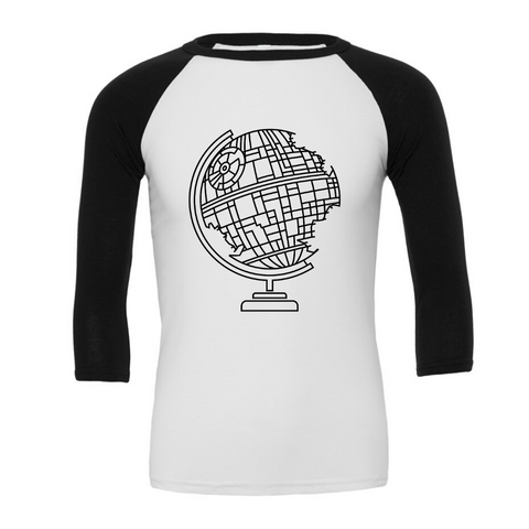 Death Star Globe -  3/4 Sleeve Baseball Tee