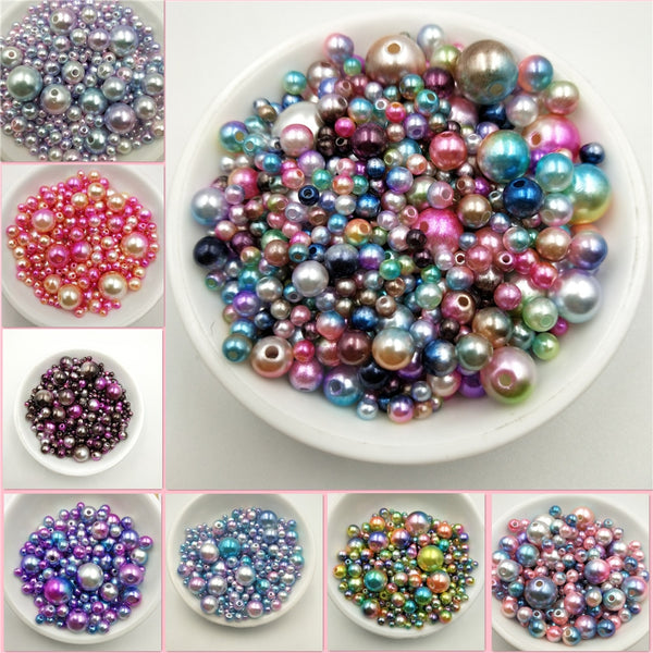 Multi Option Mixed 3/4/5/6/8/10/12mm Round Imitation Rainbow Color Plastic ABS Pearl Beads DIY for Jewelry Making Accessories - Vintage Online Store