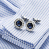 Blue Crystal Cone Cuff links for Men - Vintage Online Store