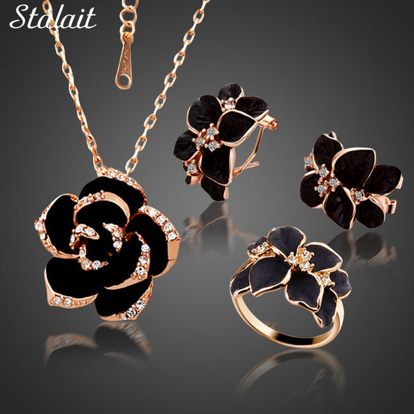 Fashion Rose Flower Enamel Jewelry Set Rose Gold Color Black Painting Bridal Jewelry Sets for Women Wedding 82606 - Vintage Online Store