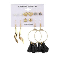 Earings Set Crystal Heart Studded - Vintage Online Store