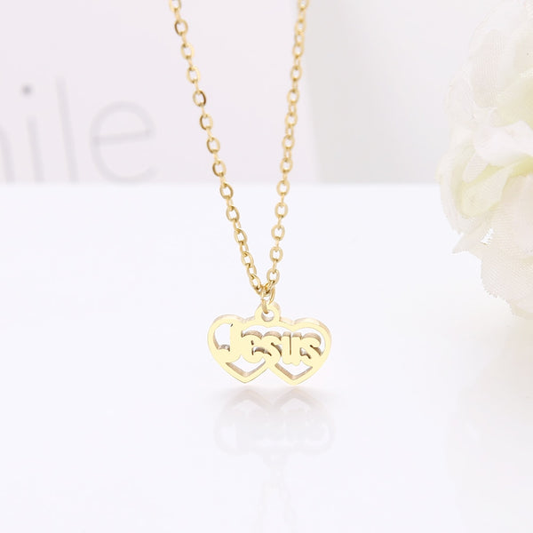 Stainless Steel Letter Cutout Double Heart Pendant Necklaces Gold and Silver Color For Women - Vintage Online Store