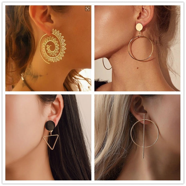 2020 New Fashion Round Dangle Drop Korean Gold Earrings For Women - Vintage Online Store