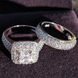 Moonso trendy Luxury 925 Sterling Silver Wedding Ring Set band for bridal girls and Women ladys love couple pair jewelry R3400 - Vintage Online Store