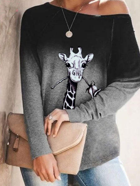 Women's long sleeved Giraffe Print T-shirt