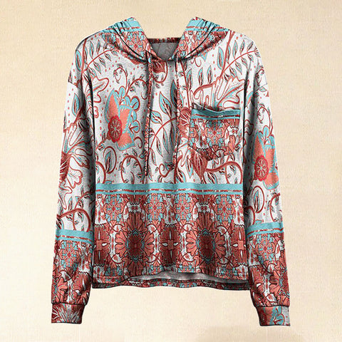 Women Hot Sale Coral & White Antique Botanical Pocket Hoodie