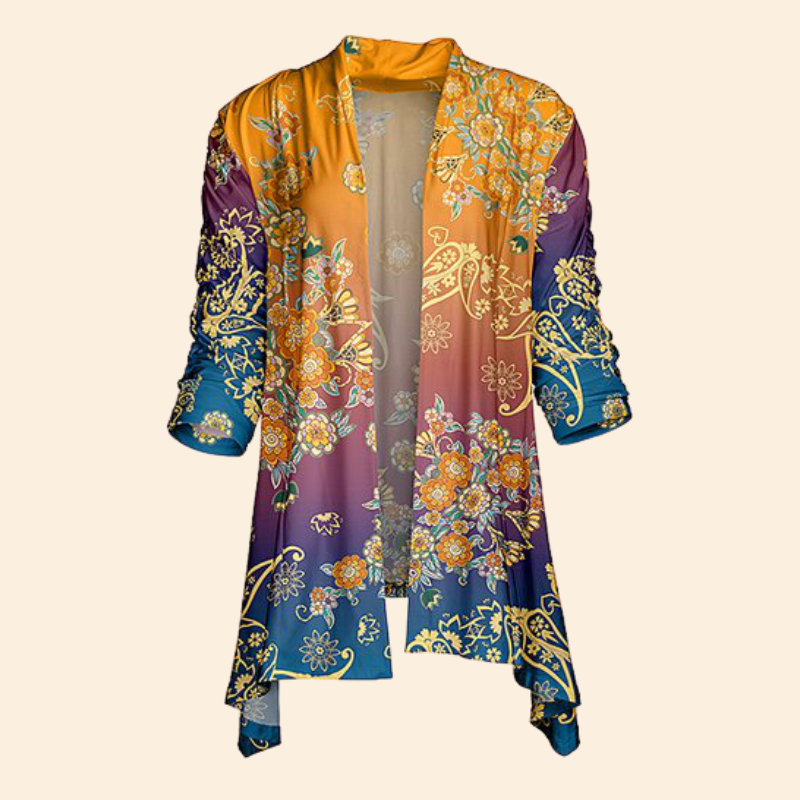 Women Fashion Yellow & Teal Floral Sidetail Open Cardigan