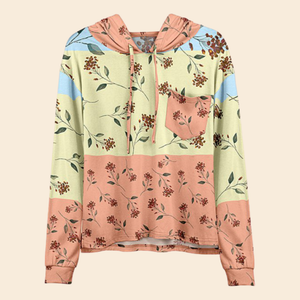 Women Fashion Coral & Cream Floral Pocket Hoodie