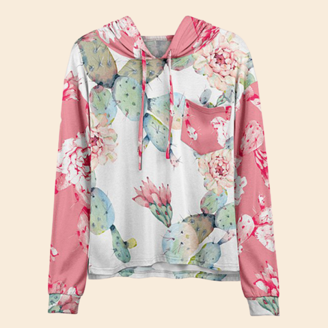 Women Hot Sale Pink & Mint Cactus Floral Chest-Pocket Hoodie