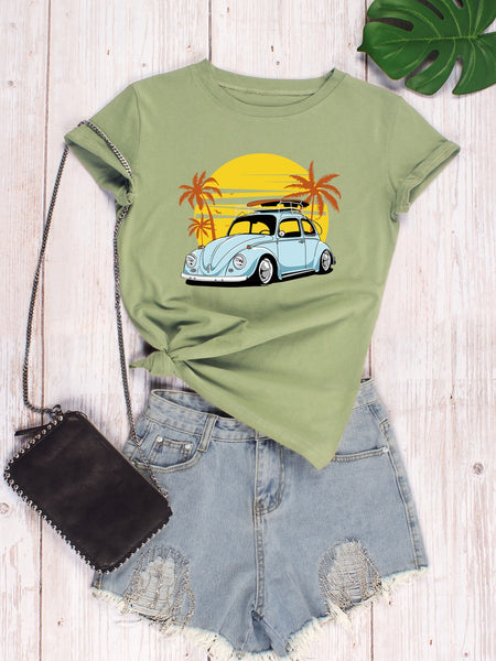 Car And Tropical Print Tee