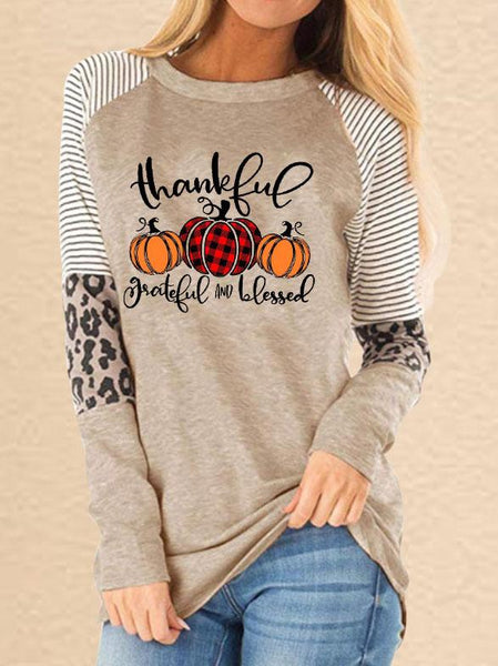 Women Fashion Halloween Thanksgiving Thanksful Grateful And Blessed Printed Leopard Stitching Casual Sweatshirt