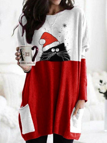 Women Fashion Christmas Spliced Color Christmas Hat Cat Printed Long Sleeve T-shirts