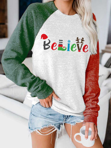 Women Fashion Believe Christmas Print Contrast Top