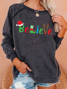 Women Fashion Believe Christmas Print Sweatshirt