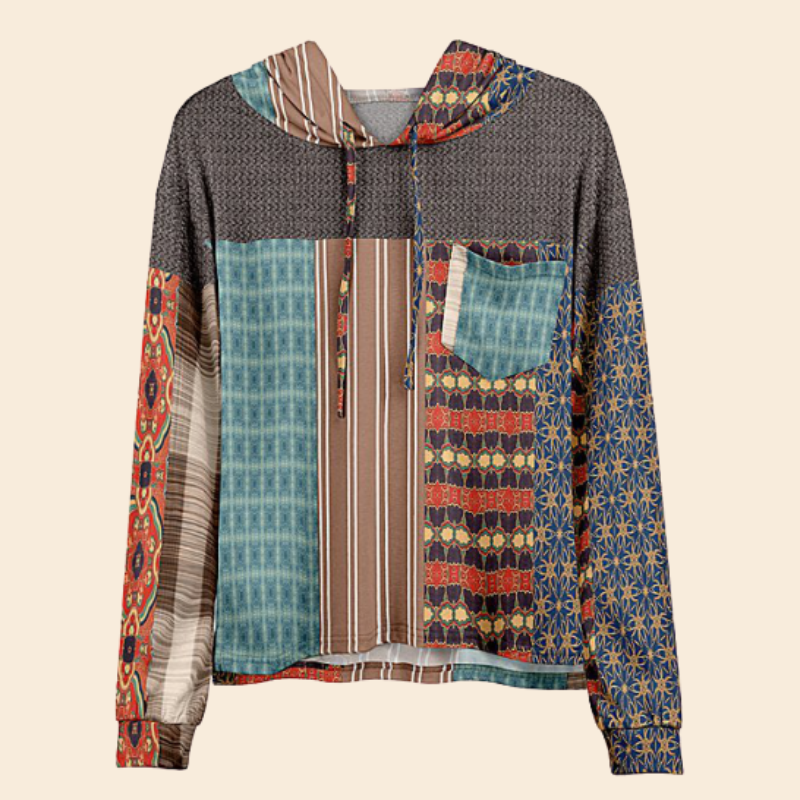 Women Hot Sale Brown & Teal Geometric Pocket Hoodie