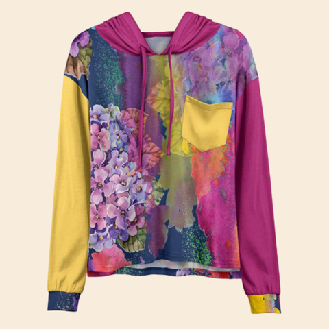 Women Hot Sale Fuchsia & Yellow Floral Pocket Hoodie