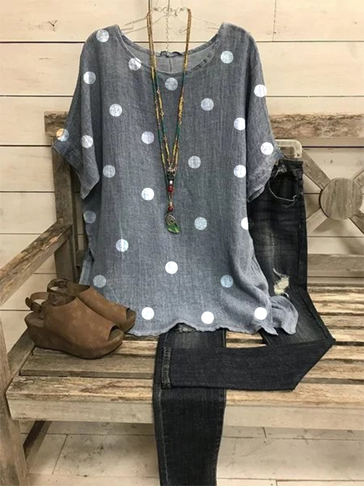 2020 New Gray Floral-Print Casual Crew Neck Short Sleeve Tops