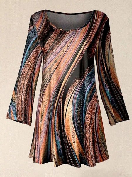 Women Orange & Black Abstract Long Sleeve Scoop Neck Tunic