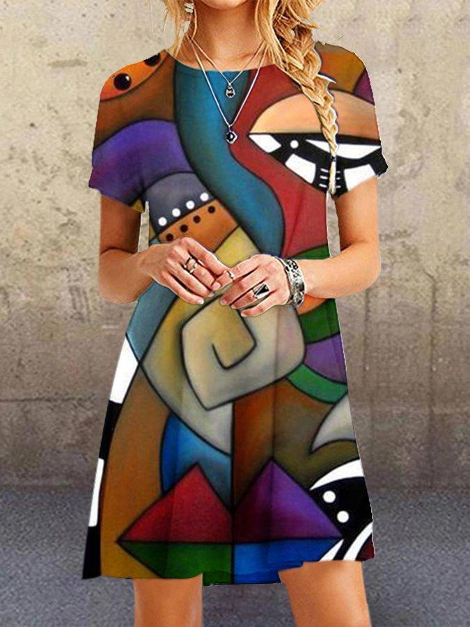 Hot Sale Women Holiday Abstract Printed A-Line Dresses