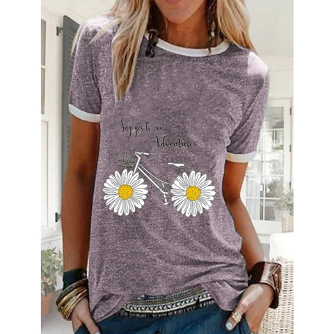 Women's Floral Daisy T-shirt Daily Purple / Light Green