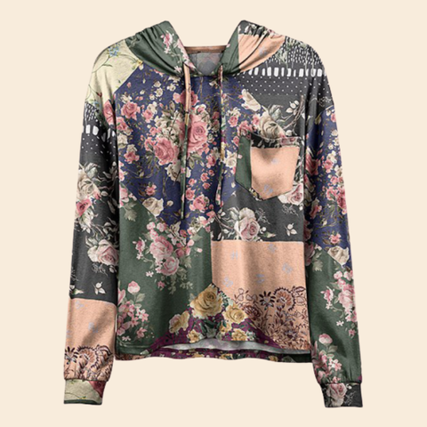 Women Hot Sale Olive & Pink Floral Patchwork Pocket Hoodie