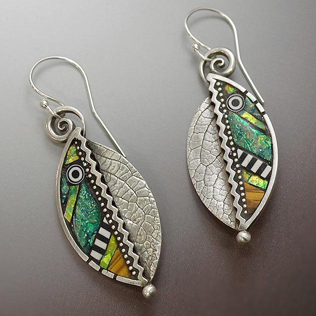Long Hanging Abstract Iridescent Green Leaf Earrings Necklace