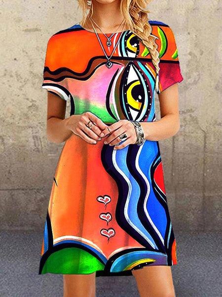 Women Casual Red Short Sleeve Abstract Cotton-Blend Casual Dresses