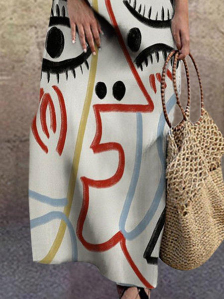 Women Graphic Printed Shift Long Sleeve Dress