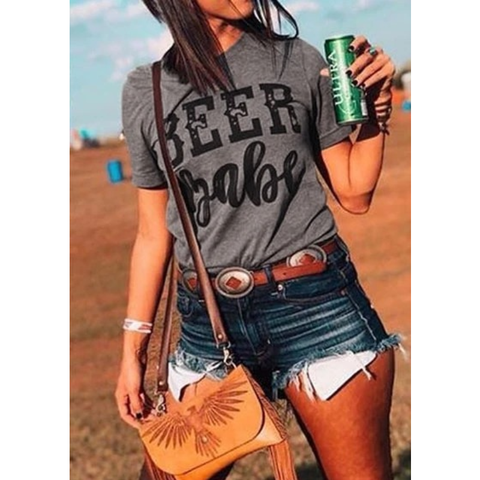 Women Short Sleeve Beer Tumblr T-Shirt