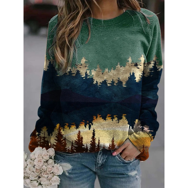 Women Printed Loose Casual Sweatshirt