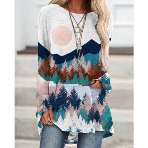 Women Hot Sale Plant Printed Loose Casual T-shirt