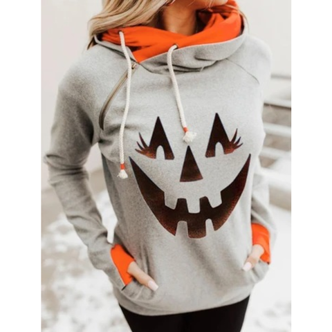 Women Fashion Color Block Long Sleeve High Neck Sweatshirt