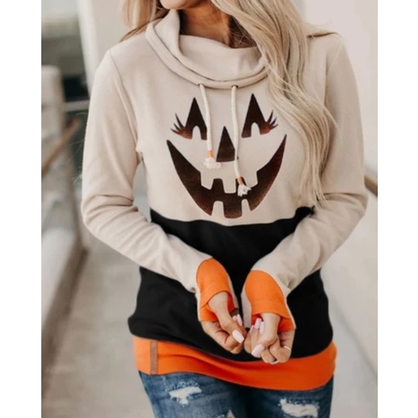 Women Fashion Long Sleeves High Neck Hallow Festival Tops